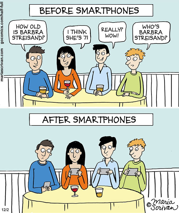 Family Meeting Before And After Smartphones