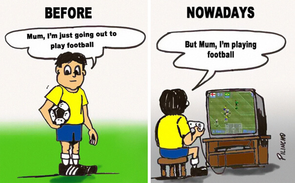 Mum, I'm playing football Funny Illustrations.