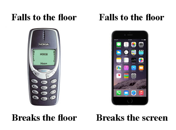 Nokia and iPhone falls to the floor.