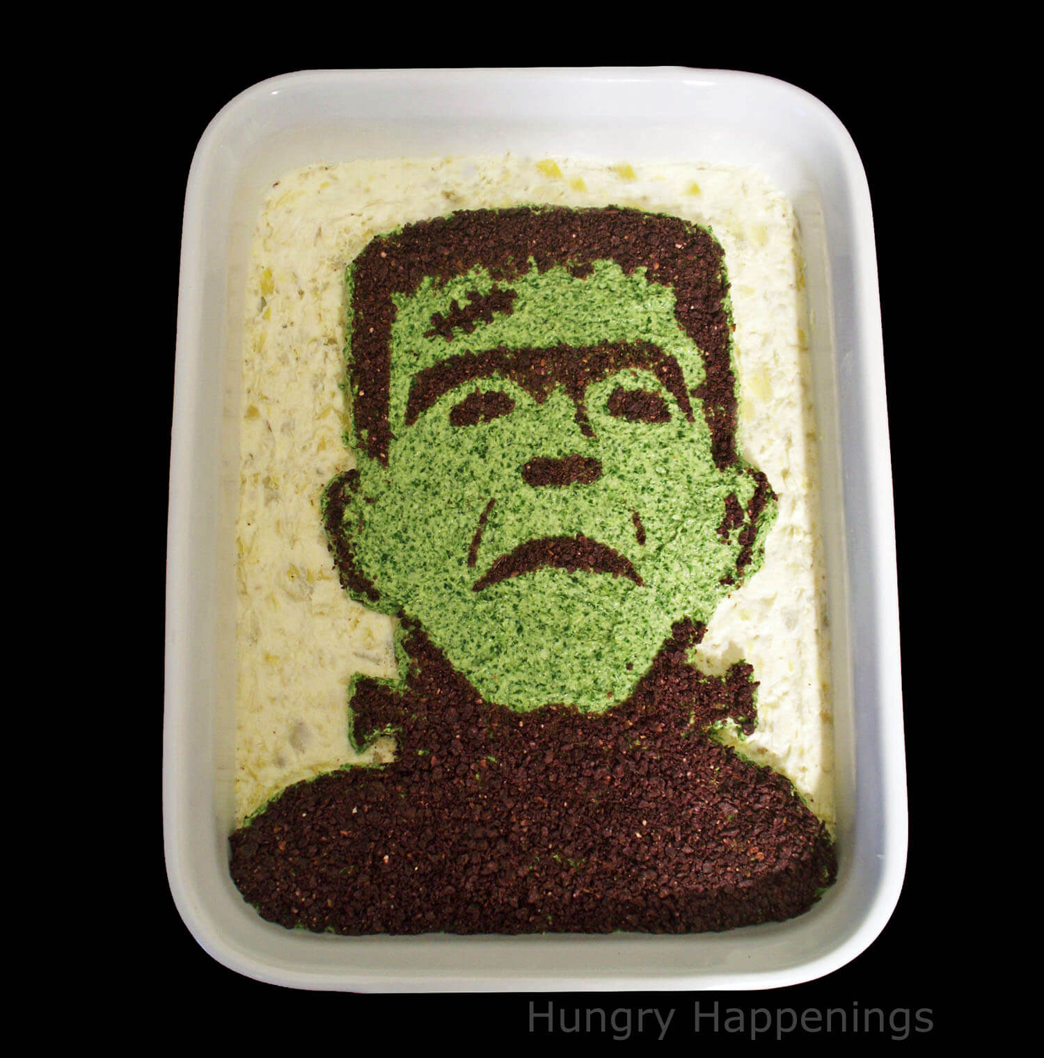 Frankenstein Spinach and Artichoke Dip halloween food ideas
