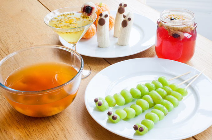 Halloween Foods Including Jelly Bananas And Grapes