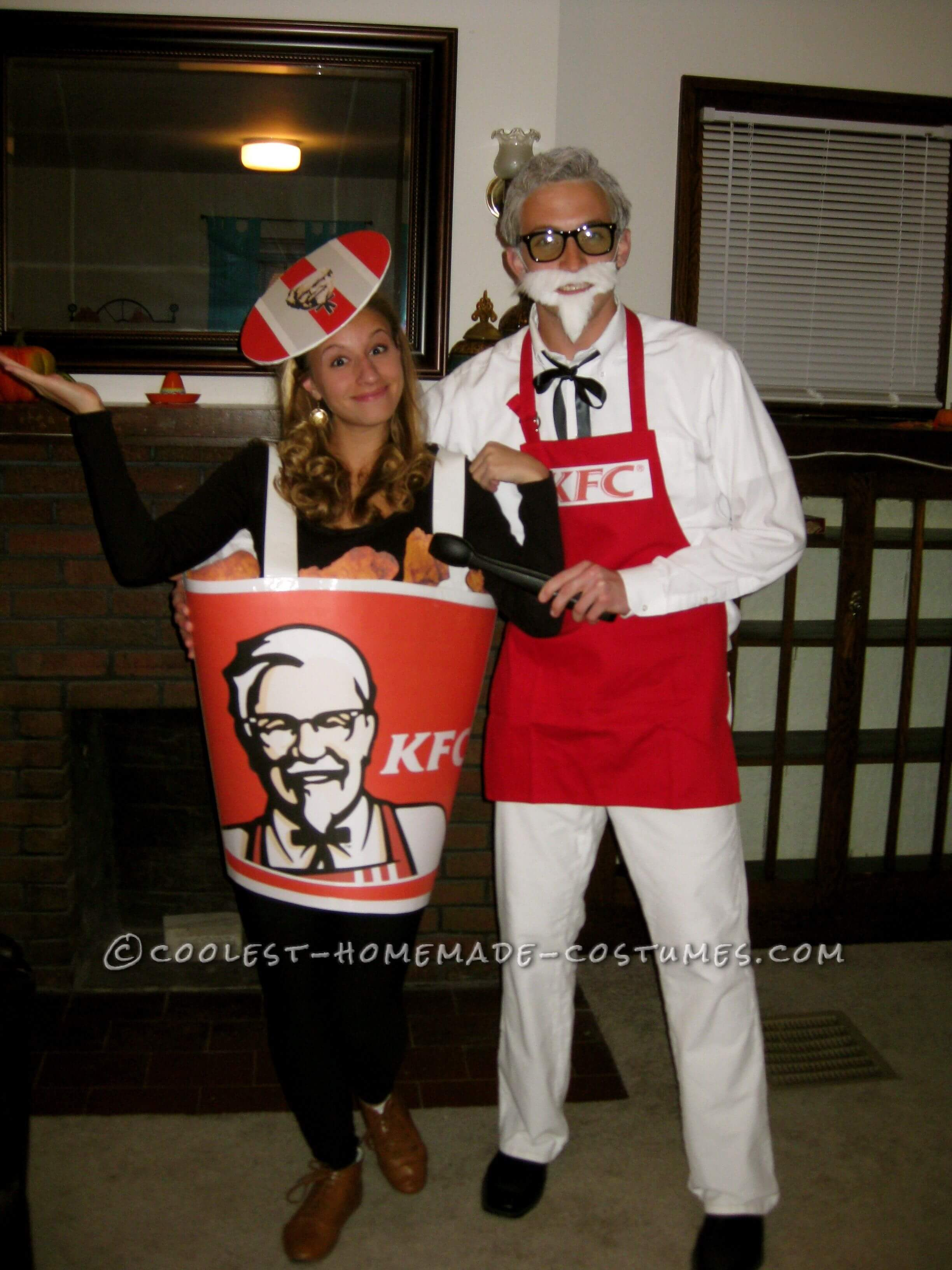 KFC and chicken bucket funny halloween costume for couple