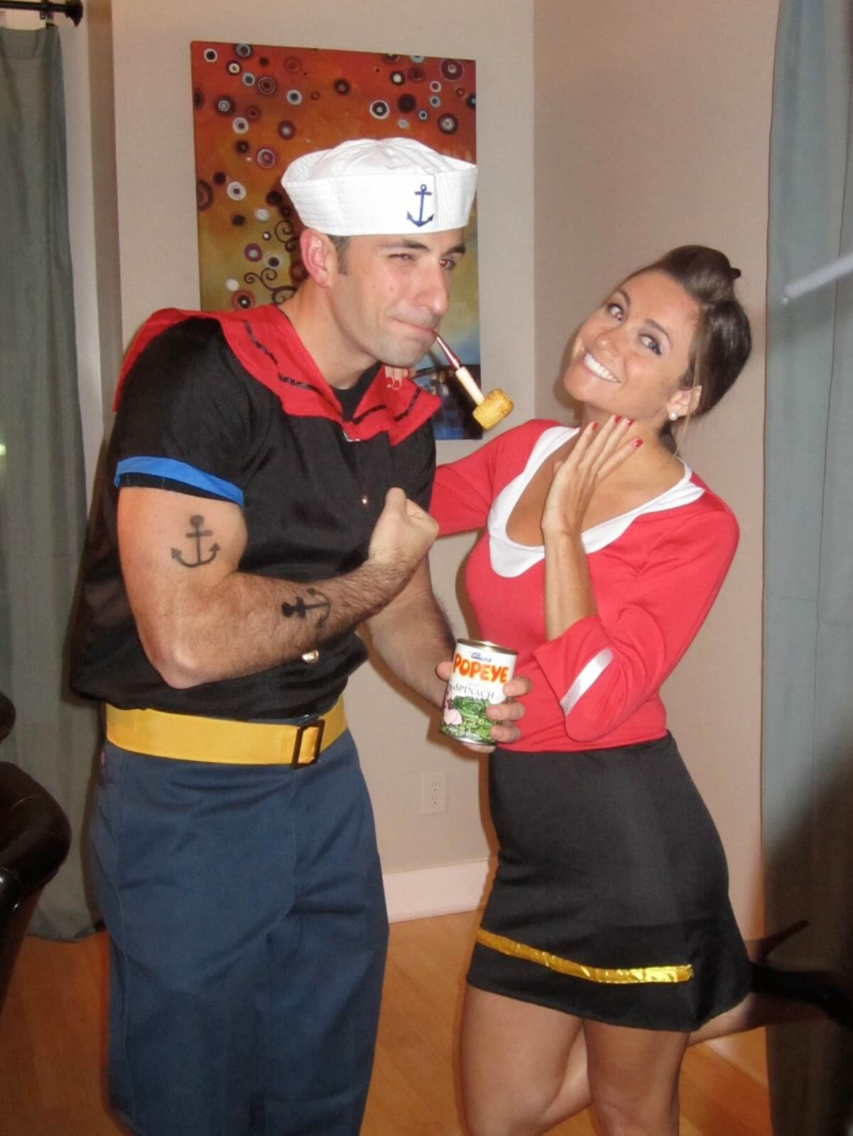 Popepy and olive funny halloween costume for couples