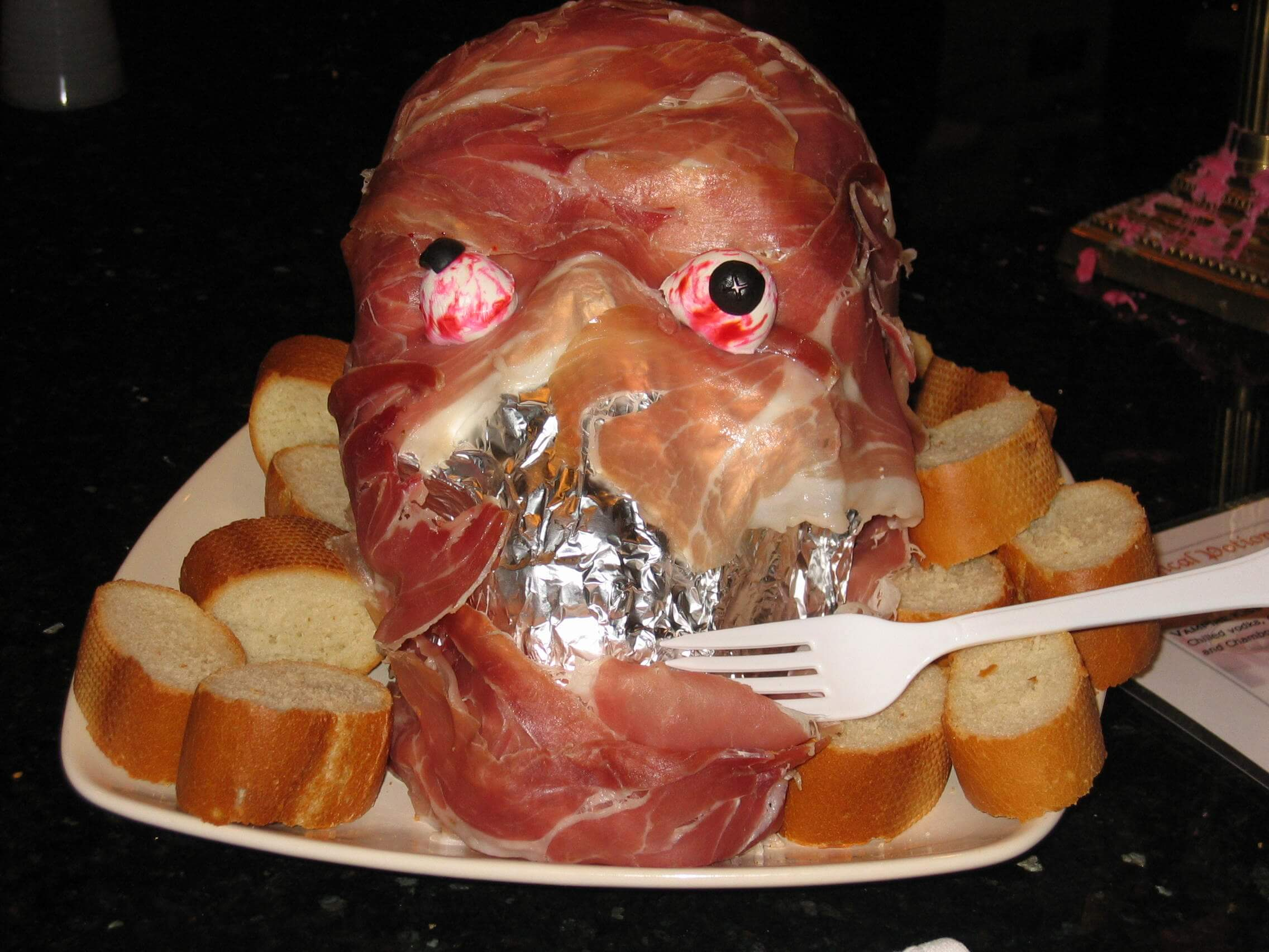 Prosciutto Ham Head & Pillsbury Spooky Finger Breadsticks halloween food ideas