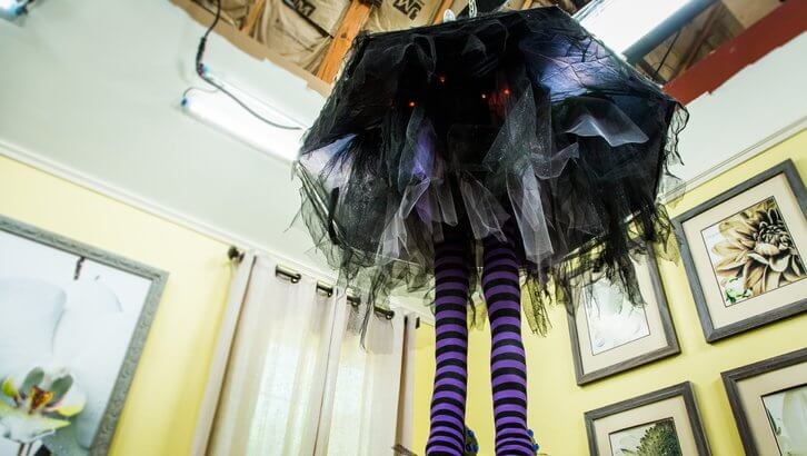 Diy witch leg chandelier.