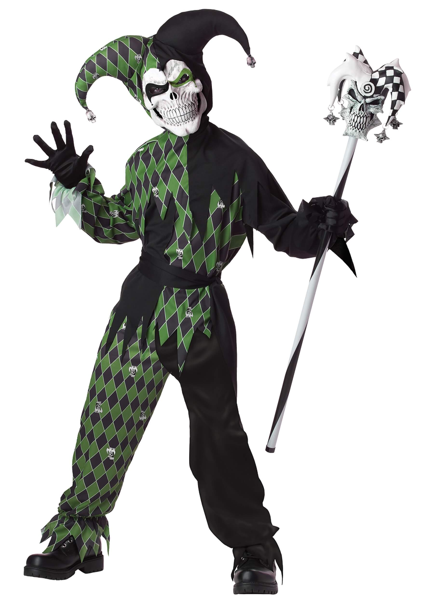child green scary jester costume for halloween