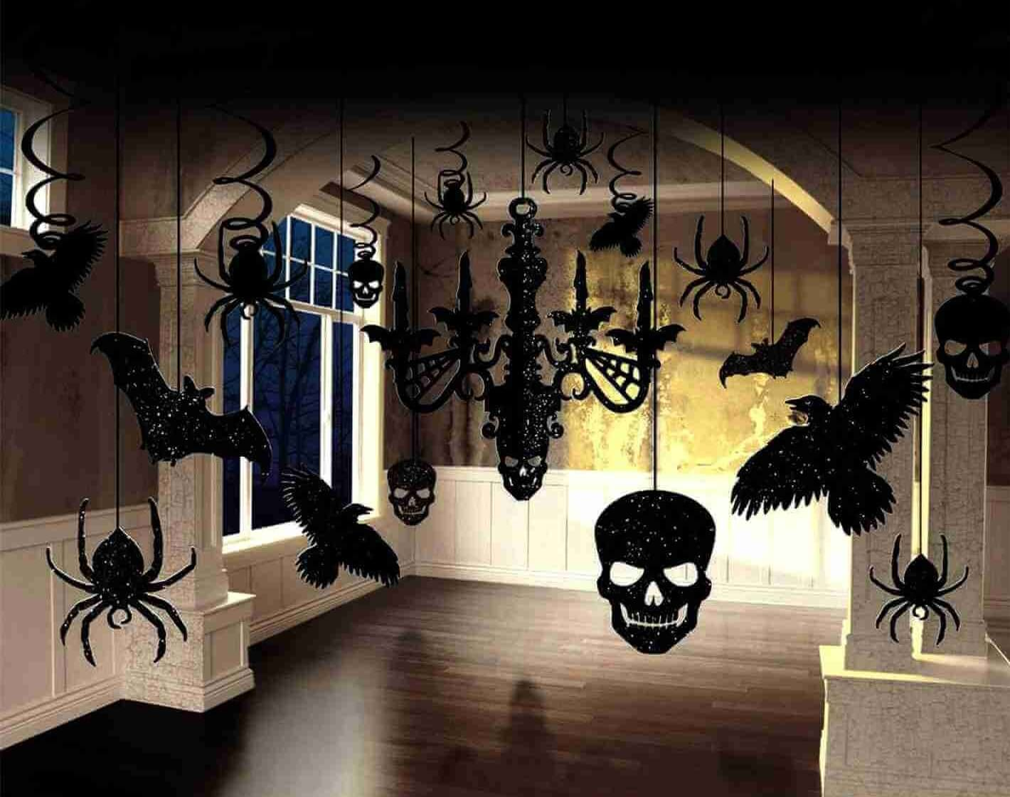 Crazy skull spider bat hanging decoration for Halloween