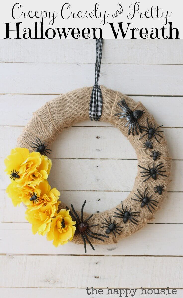 Creepy crawly & pretty Halloween wreath.