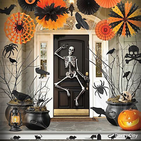 Dancing skeleton on the door for Halloween decorations