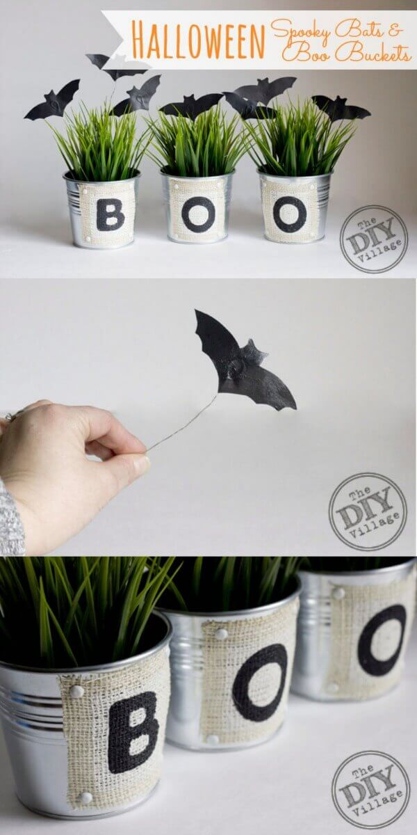 DIY Halloween spooky bats and boo buckets.