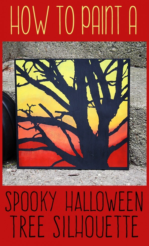 Diy spooky tree painting for halloween.