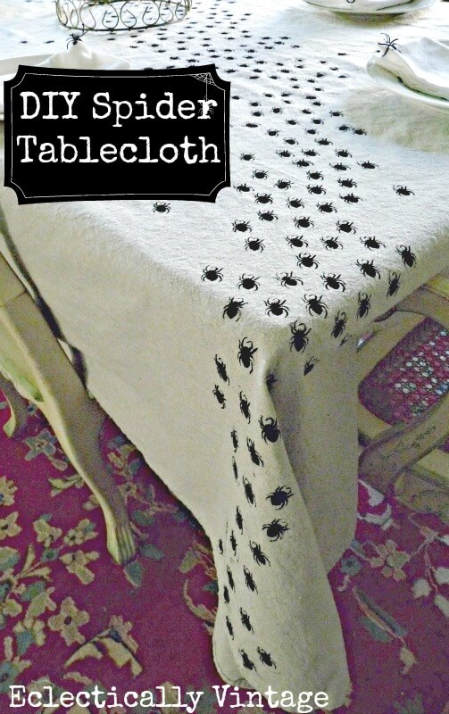 Diy swarming spiders tablecloth.