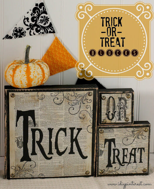Diy trick-or-treat wood blocks.
