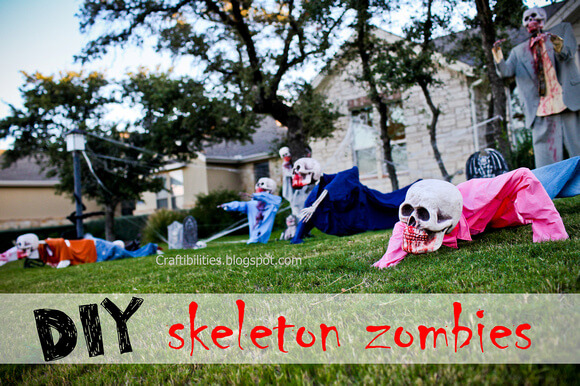 Diy zombies - halloween decor - yard skeletons - easy and inexpensive.