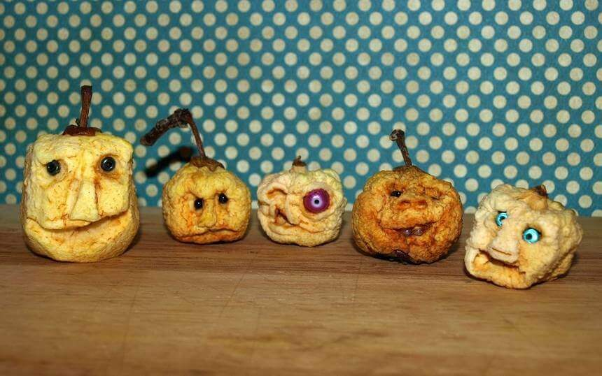 Dried apple shrunken heads.