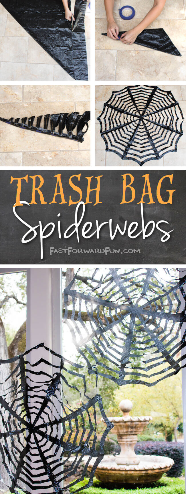 Easy diy trash bag spiderwebs.