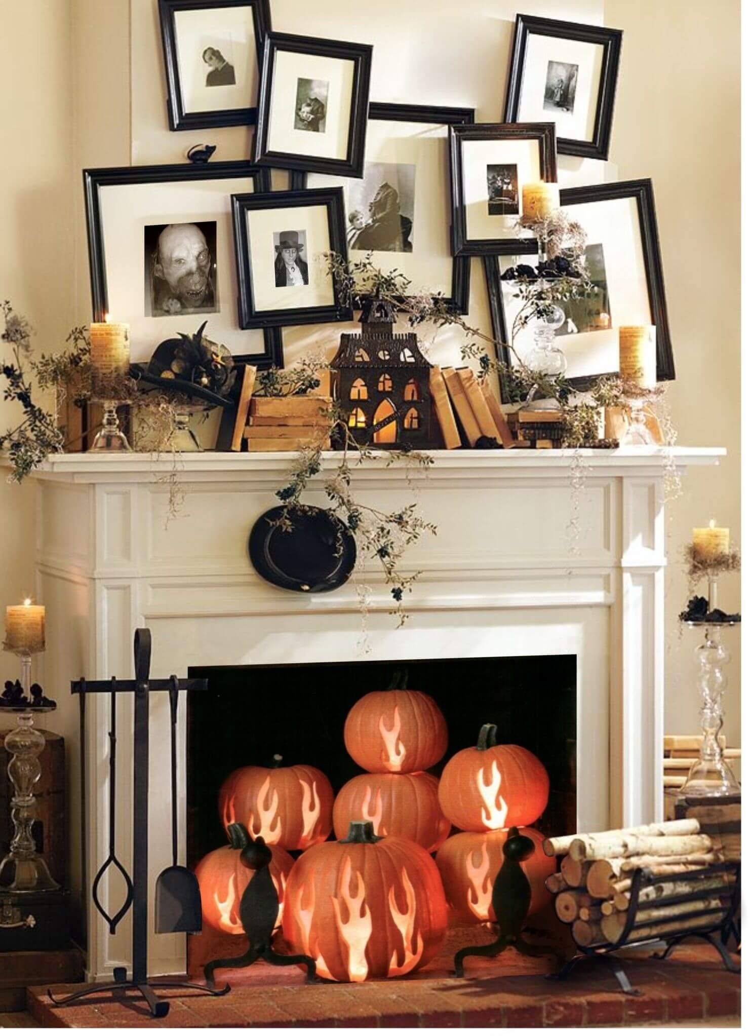 Easy mantel and fireplace Halloween decoration ideas