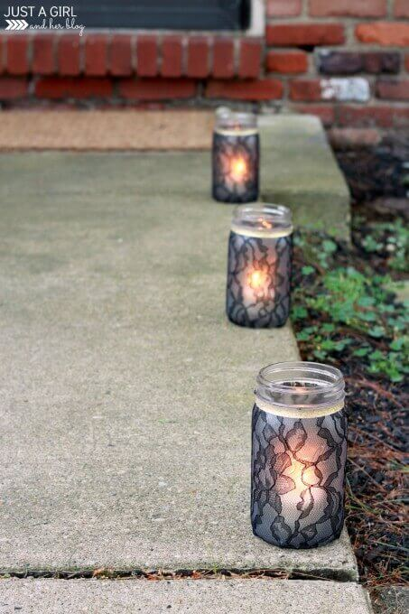 Halloween mason jar luminaries.