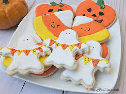 happy ghost pumpkin cookies halloween food ideas
