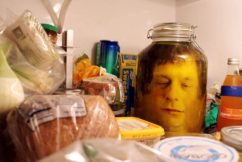 Head in a jar prank.
