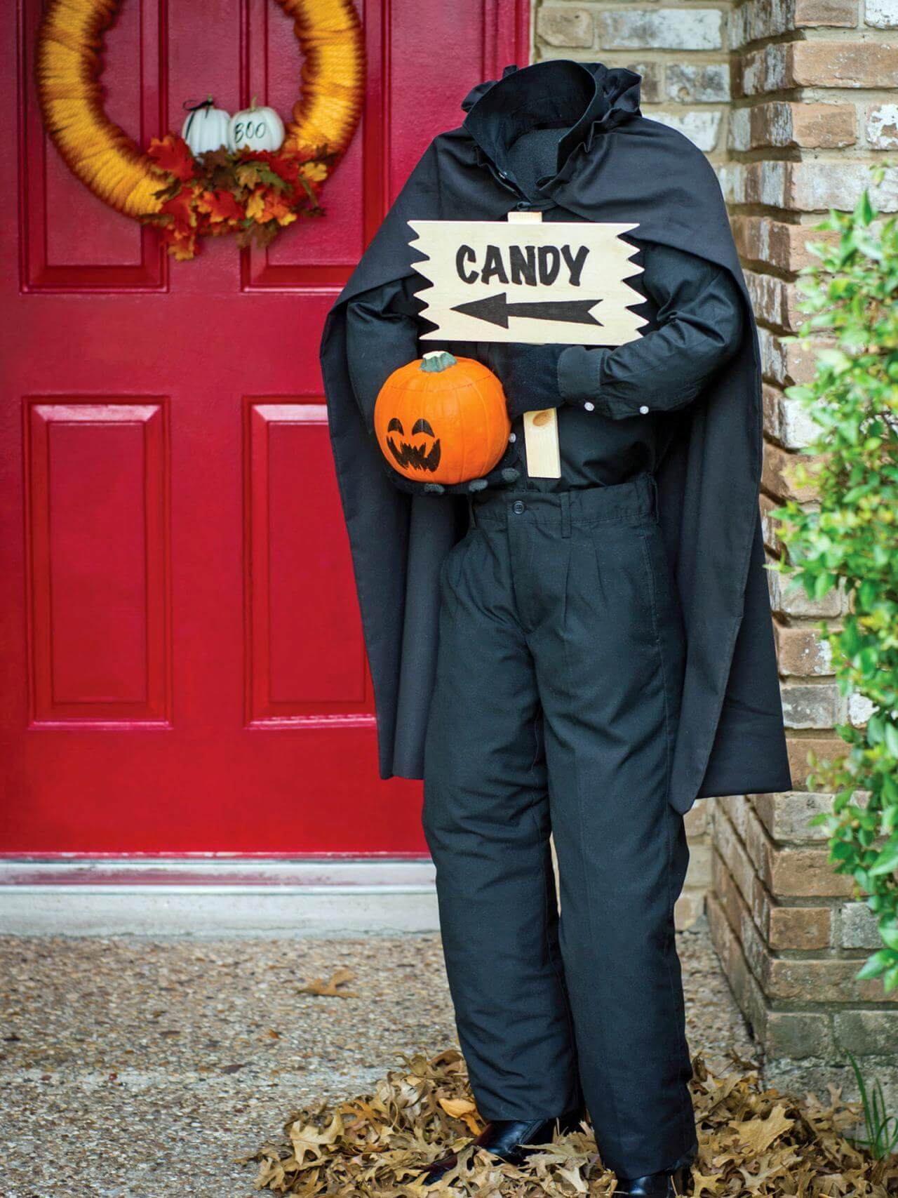 Headless horseman greeting at the front door for Halloween party