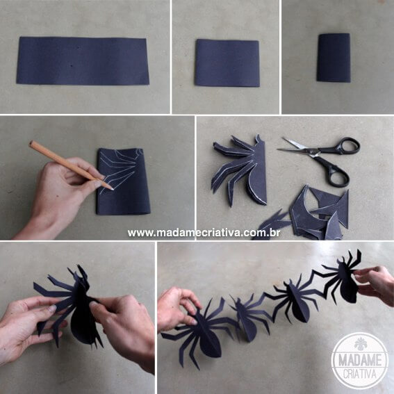 How to make spider garland for halloween.