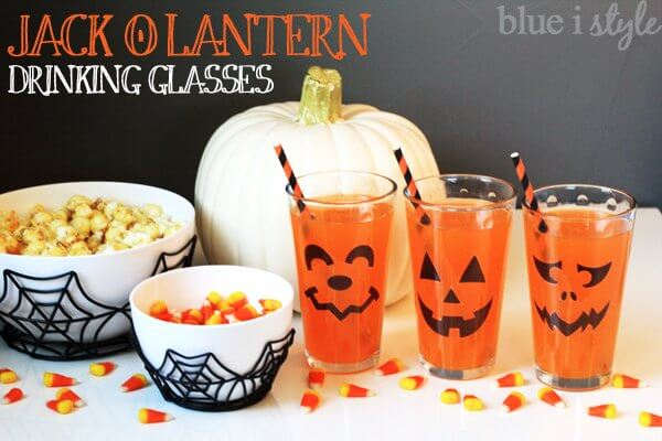 Jack o'lantern drinking glass clings.