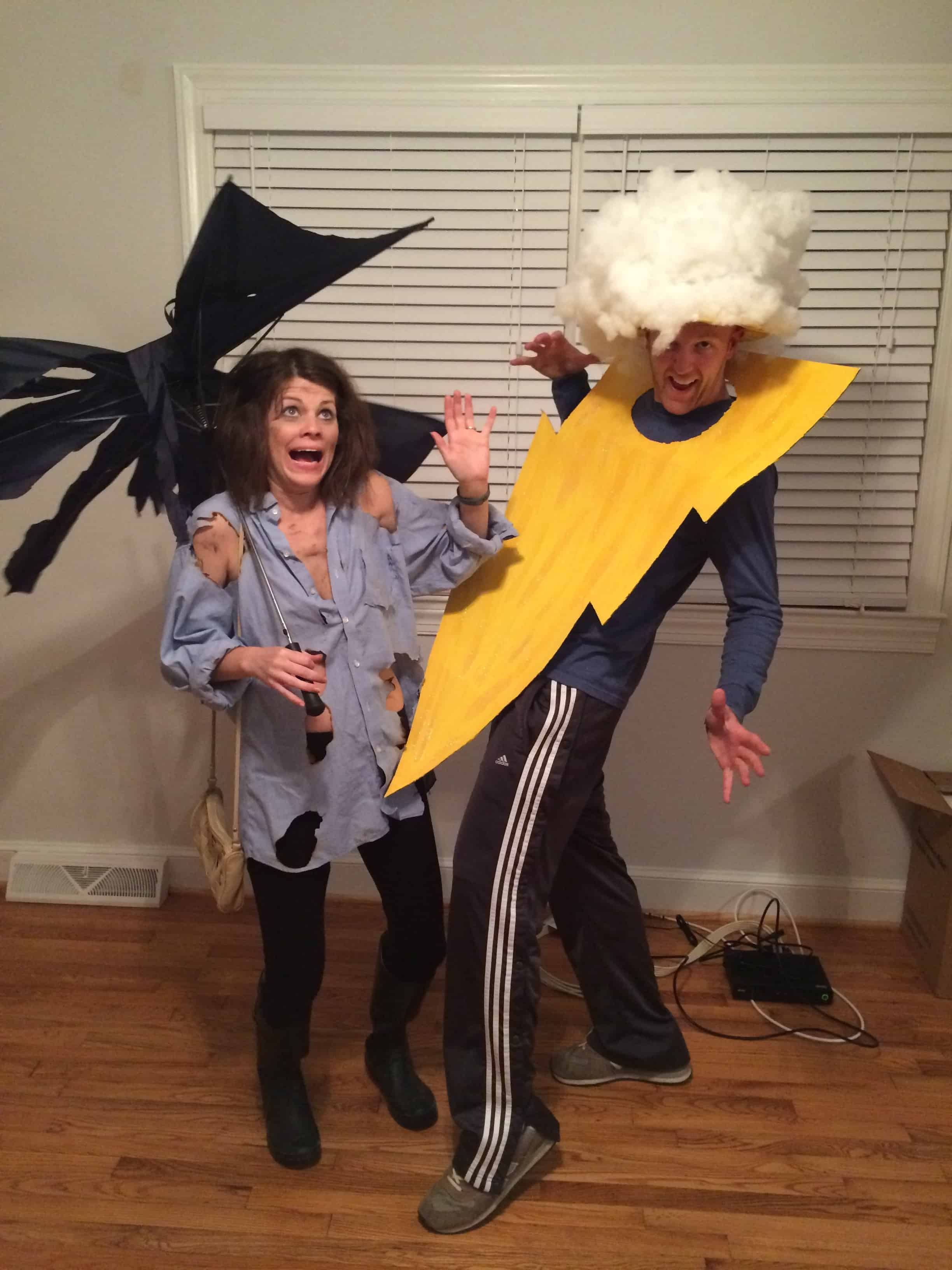 lightning bolt and strike victim funny halloween costume for couple