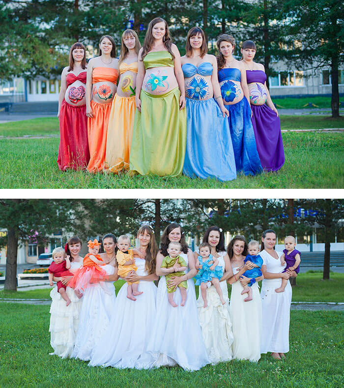 maternity photo ideas with group