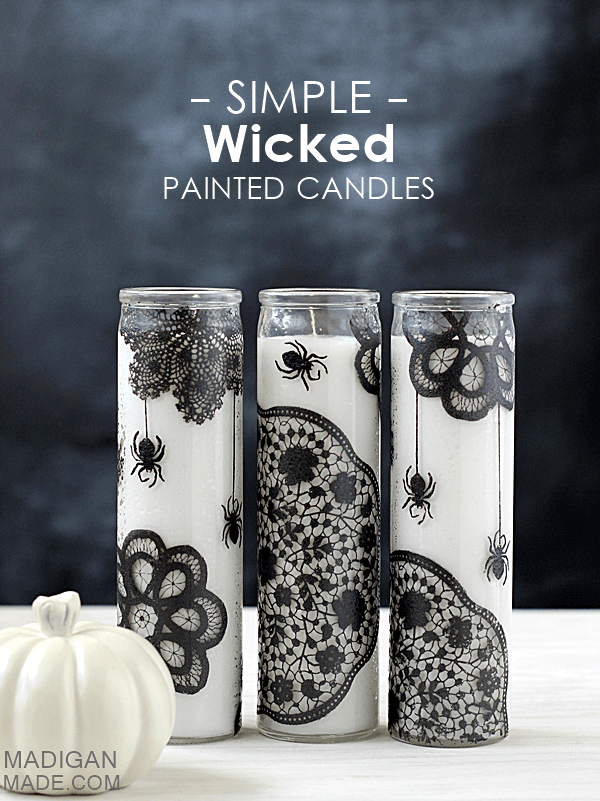 Simply wicked DIY painted candles.