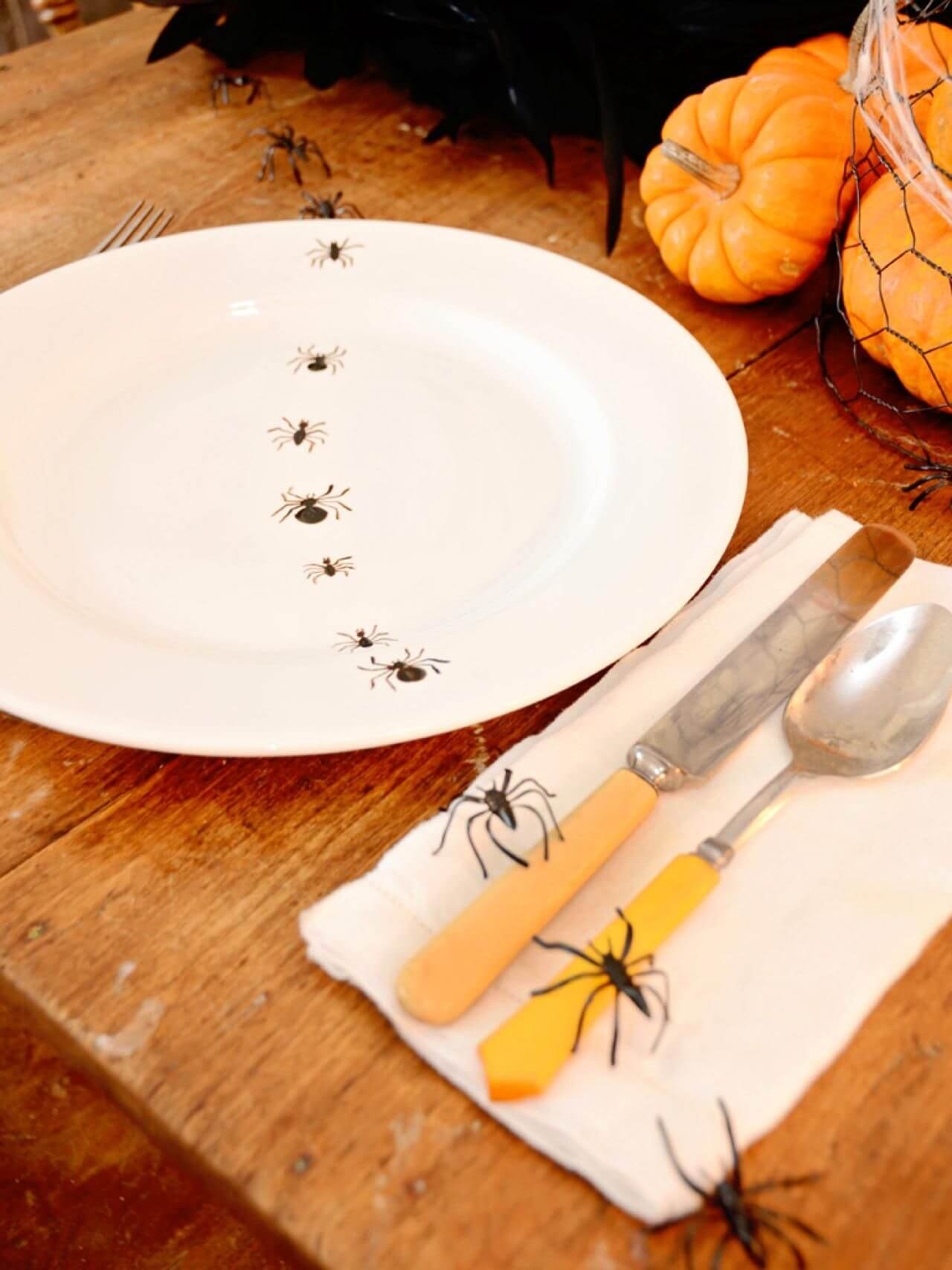 Spider on the plate decoration for Halloween