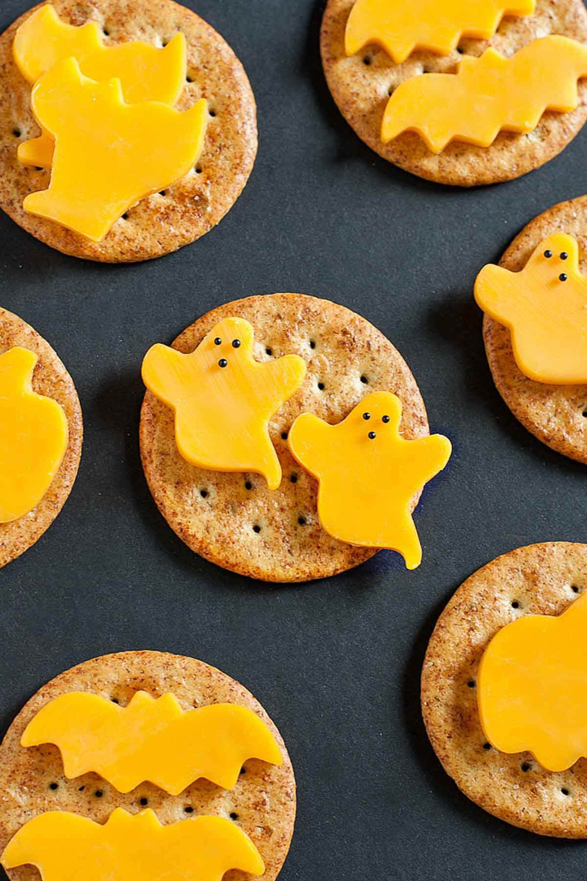 spooky cheese crackers appetizer halloween food ideas