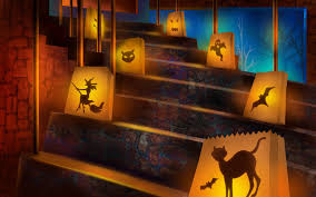 Stair case lanterns with cats embedded Halloween decoration