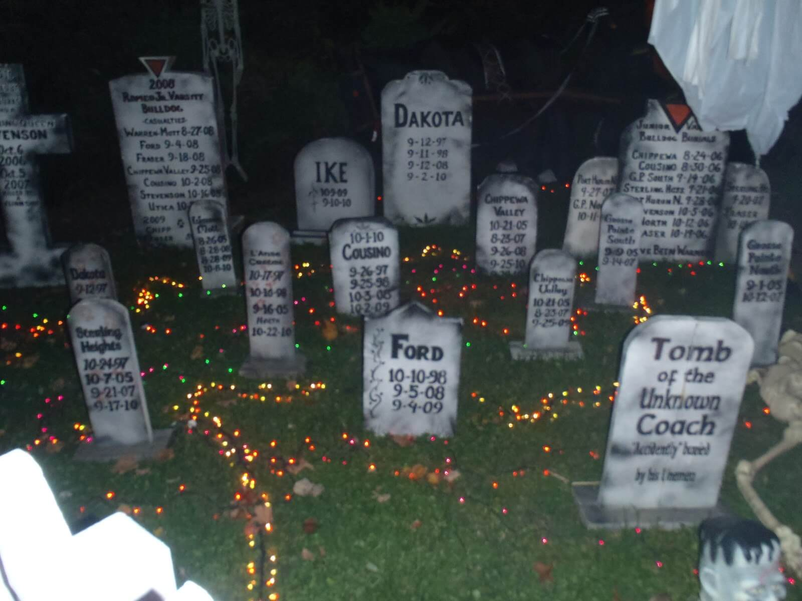 Tombstone in garden for Halloween decorations