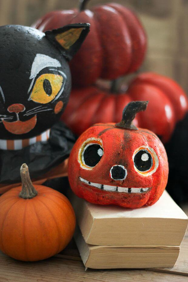 Vintage folk art pumpkin DIY.