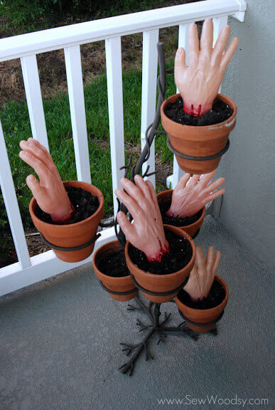 Zombie planted hands.