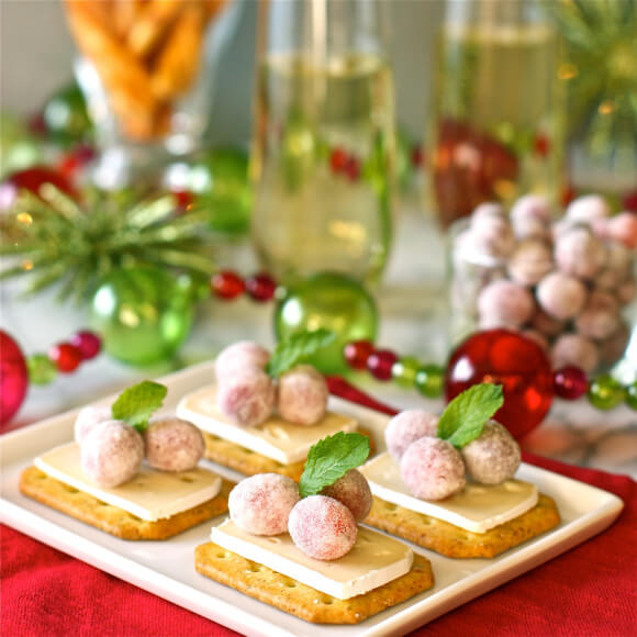 Appetizer Brie Bites with Sugared Cranberries Christmas Food Ideas