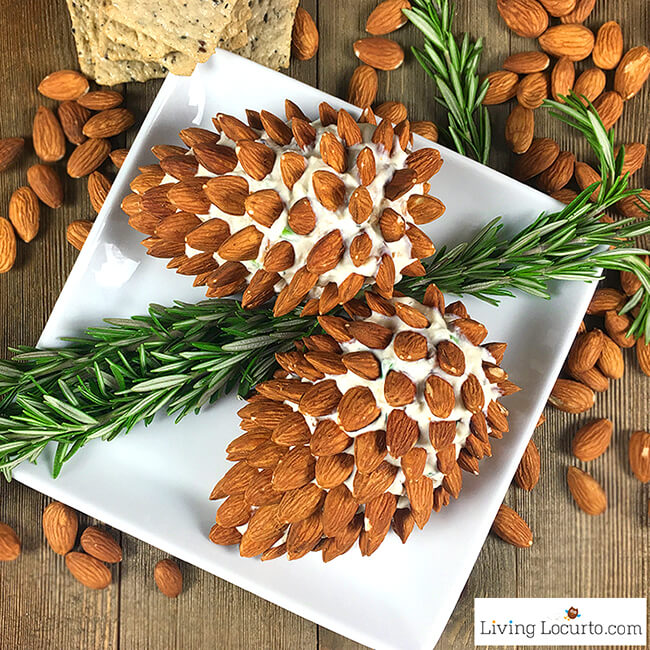Appetizer Pine Cone Cheese Ball with Almonds Christmas Food Ideas