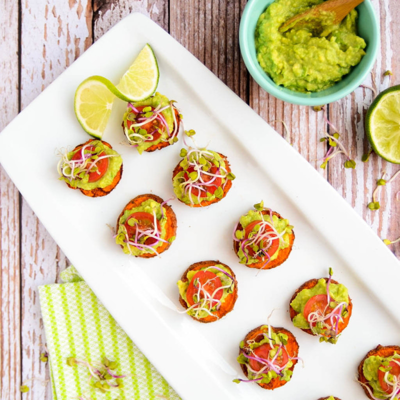 Appetizer Sweet Potato & Avocado Bites Christmas Food Ideas