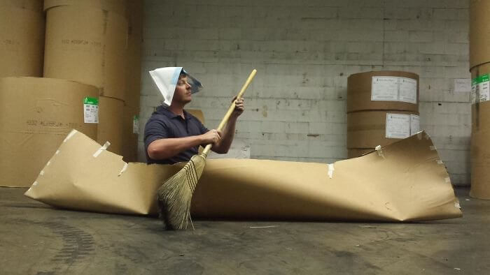 Cardboard boat Bored At Work
