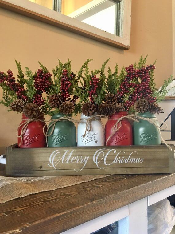 Centerpiece Mason Jar Christmas Centerpiece Christmas Decorations on Sale