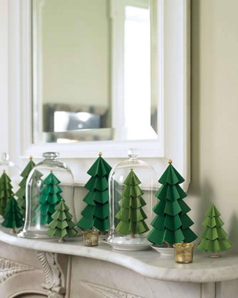 Decorative trees on mantle Christmas decorations ideas for home