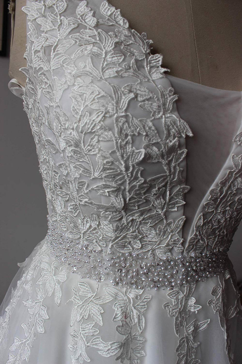 9ae14fc1a #60 ABaowedding Women's Wedding Dress for Bride Lace Applique Evening Dress  V Neck Straps Ball Gowns