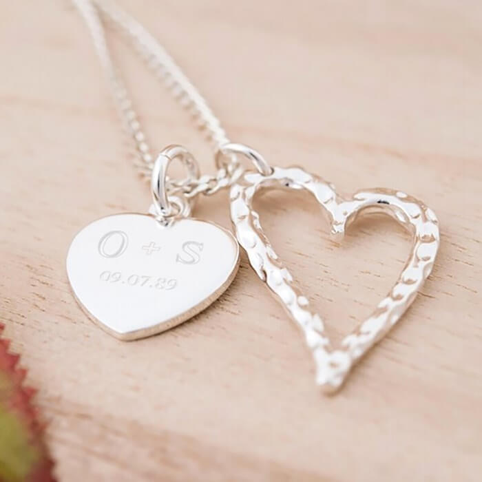 Engraved Double Heart Pendant Necklace Christmas Gifts for Girlfriend