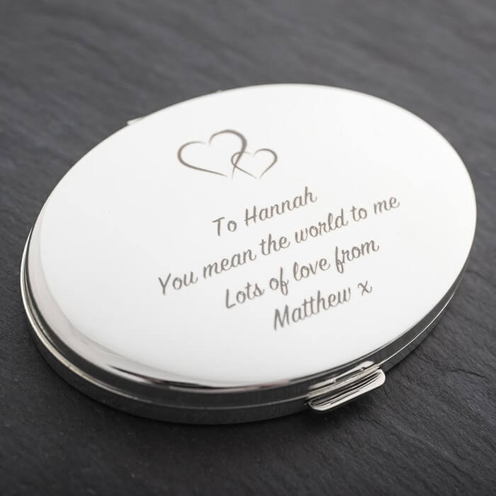 Engraved Silver Oval Compact Mirror With Hearts Christmas Gifts for Girlfriend