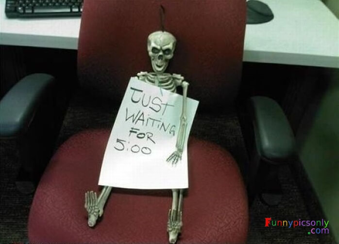 Funny Skeleton Bored At Work