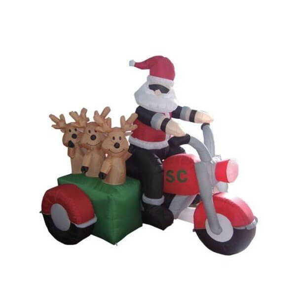 Inflatable Christmas Inflatable Santa Claus Driving Motorcycle with 3 Reindeer Decoration Christmas Decorations on Sale