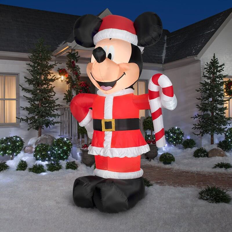 Inflatable Disney Santa Mickey with Candy Cane Inflatable Christmas Decorations on Sale