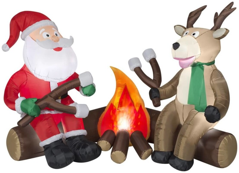 Inflatable Projection Airblown Fire and Ice Santa and Reindeer Camping Scene Inflatable Christmas Decorations on Sale