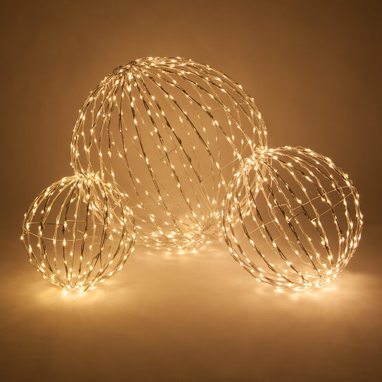 Lights Warm White LED Christmas Light Ball, Fold Flat White Frame Christmas Decorations on Sale